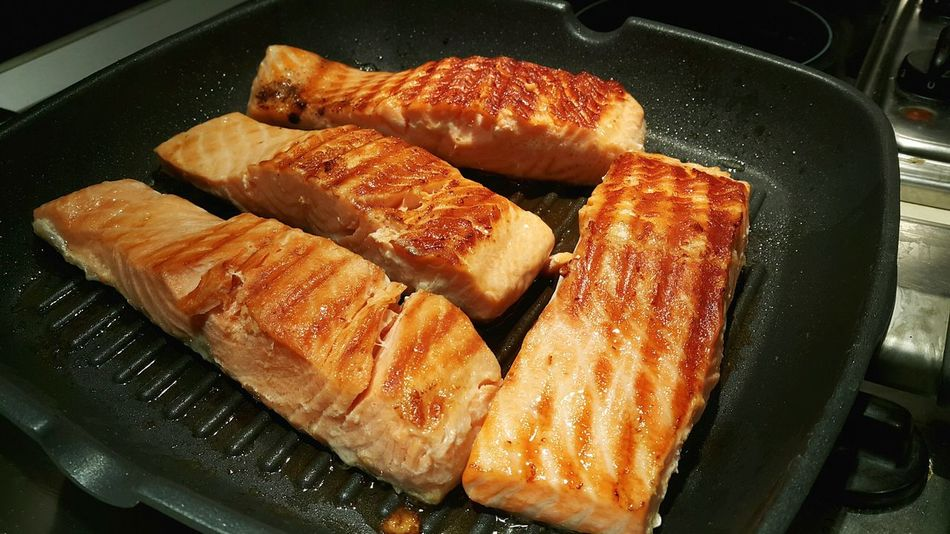 Salmon on a Pan. Salmon Fish Pan Cooking Hot Plate Hot Food Seefood Healthy Food Dinner Preparing Nutrition Delicious Meal Meat