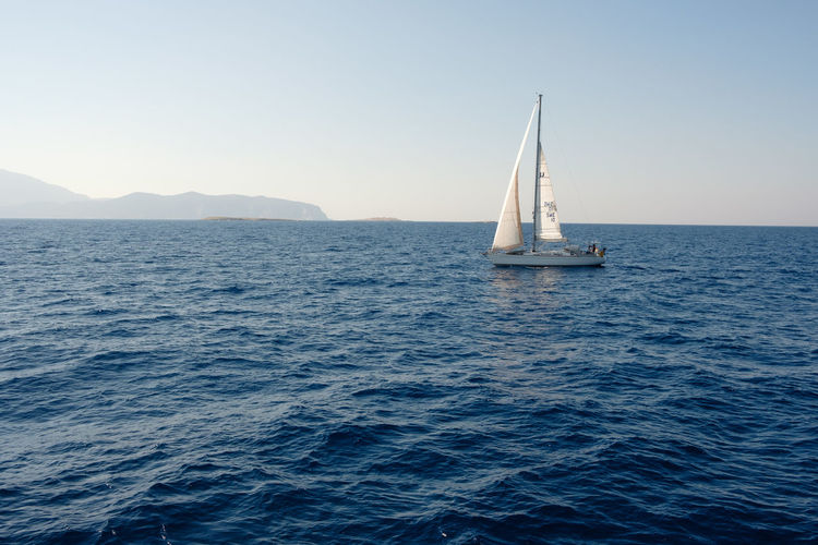 Sailing boat on the Aegean - Rhodes, Greece, 2018 Rhodes Adventure Beauty In Nature Blue Clear Sky Discovery Greece Horizon Over Water Luxury Mode Of Transportation Nature Nautical Vessel No People Sailboat Sailing Scenics - Nature Sea Ship Sky Tranquility Transportation Water Waterfront Yacht Yachting