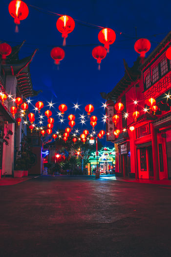 Architecture Building Building Exterior Built Structure Celebration Chinese Lantern Chinese Lantern Festival Chinese New Year Decoration Festival Hanging Holiday Illuminated Lantern Lighting Equipment Night No People Outdoors Red Traditional Festival