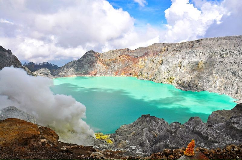Turquoise Acid Crater Lake And Ijen Volcano