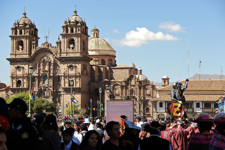 Historic city of Cusco, during the Inti Raymi Cusco - Peru Cusco Historical Monuments Adult America Architecture Building Exterior Built Structure City Crowd Day Igreja Large Group Of People Men Outdoors People Place Of Worship Real People Religion Sky South America Spirituality Women