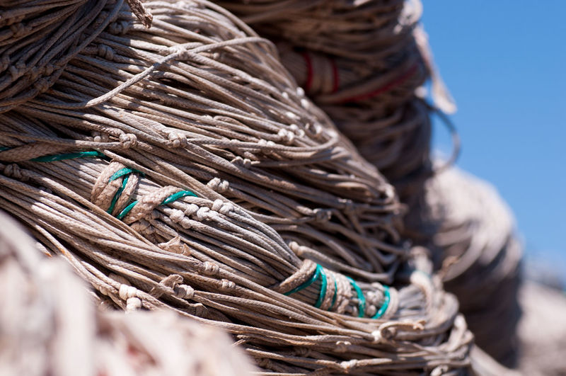 Close-Up Of Fishing Nets Outdoors