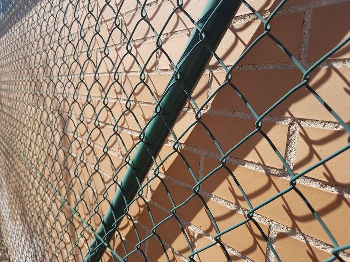 Green mesh, fence, shadows, shapes