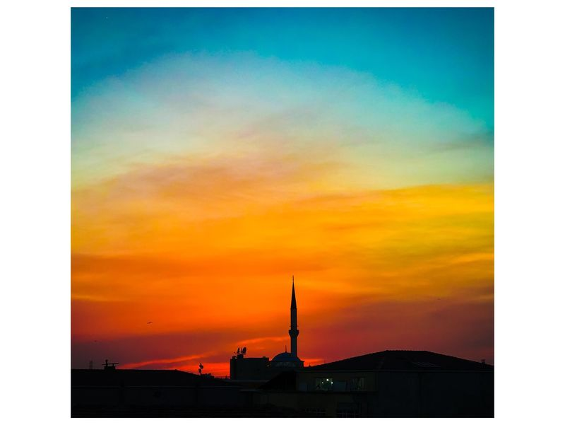 Istanbul Sky Sunset Cloud - Sky Transfer Print Orange Color Auto Post Production Filter Architecture Silhouette Beauty In Nature Dramatic Sky Idyllic