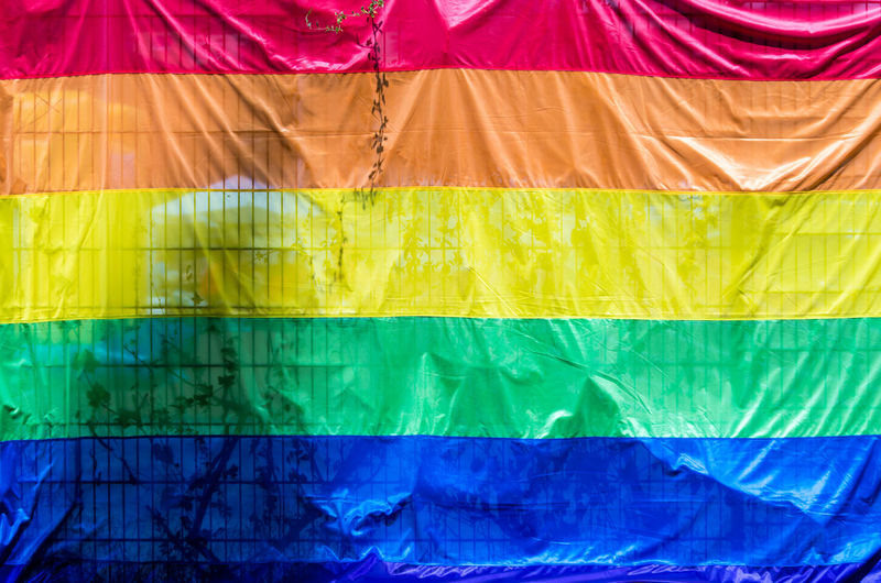 Full frame shot of rainbow flag