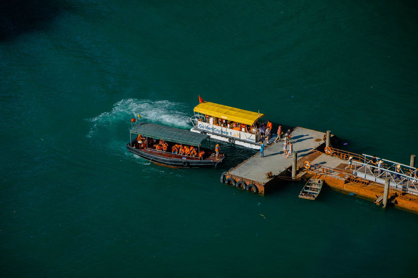 Tourists arriving at the pier of Sung Sot Cave. Architecture Day Drilling Rig High Angle View Mode Of Transport Nature Nautical Vessel No People Outdoors Sea Transportation Water Waterfront