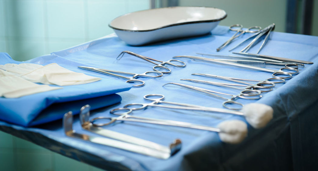 Surgical tools kit Hospital Medical Equipment Medicine Objects Clamp Clinic Close-up Deseas Equipment Healthcare And Medicine Indoors  Medical Medical Exam Medical Instruments Medical Research No People Pincers Scissors Sterilized Surgeryroom Surgical Scissors Table Technology Tool Kit Work Tool