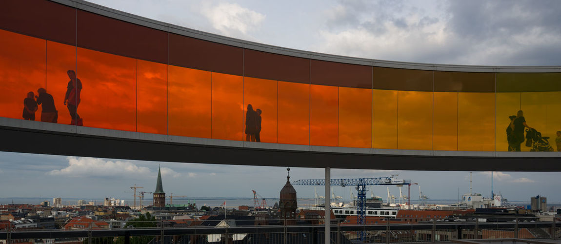 Skywalk von Olafur Eliasson über dem Museum für moderne Kunst in Arhus Art ArtWork Bridge - Man Made Structure Built Structure Empty Engineering Famous Place Modern Nikon 28-300 Nikon D3s People Perspective Silhouette Sky Århus Glass Colors Colored Glass Skyline Nikonphotography Olafur Eliasson