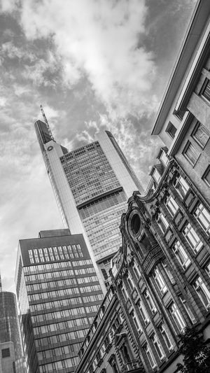 Architecture Blackandwhite Photography Building Exterior Buildings Built Structure City Cityscapes Cloud - Sky Day Frankfurt Am Main Low Angle View Modern No People Outdoors Sky Sky And Clouds Skyscraper Streetphotography
