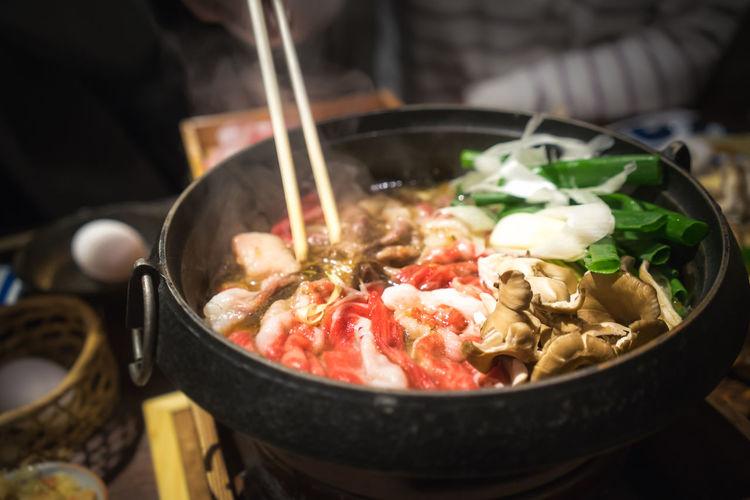 特上すき焼き! Chopsticks Close-up Dinner Eating Food Food And Drink Indoors  Japanese  Japanese Food Meet Dinner Nabe Ready-to-eat Shabu-shabu Sukiyaki Taking Photos Yummy YumYum
