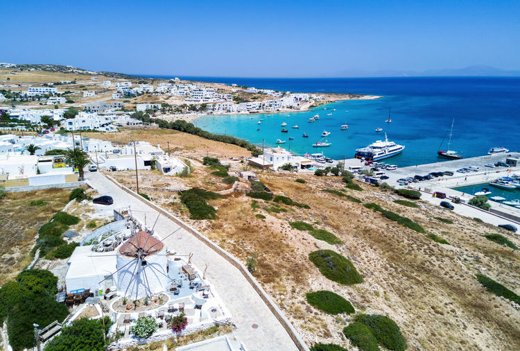 High angle view of koufonisia island against clear blue sky during sunny day