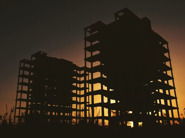 Built Structure Architecture Building Exterior Low Angle View Building Sky Illuminated Nature No People Silhouette City Dusk Modern Office Building Exterior Residential District Sunset Outdoors Tower Tall - High