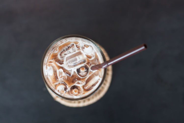 Iced coffee on black background