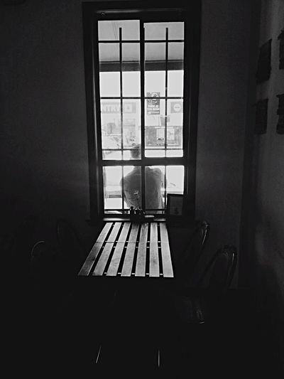 My Favorite Place Black and white time Cafe Blackandwhite Indoors  Window Chair Table Empty Absence Day Dark Solitude