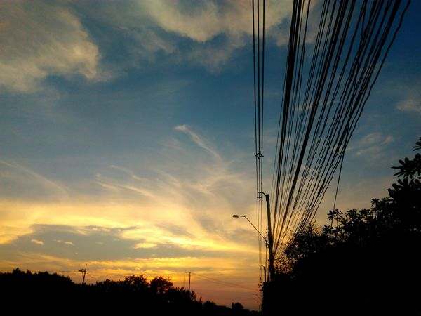 Nice dramatic sky Electric Wire Thailand Colorful Dramatic Sky Nature Sunset Dramatic Sky Sunset Cable Cloud - Sky Sky Connection No People Tree Silhouette Nature Electricity Pylon Beauty In Nature Outdoors