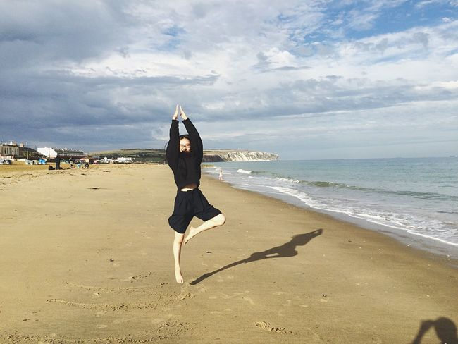 Yoga Isleofwight Beach Relaxing Enjoying Life