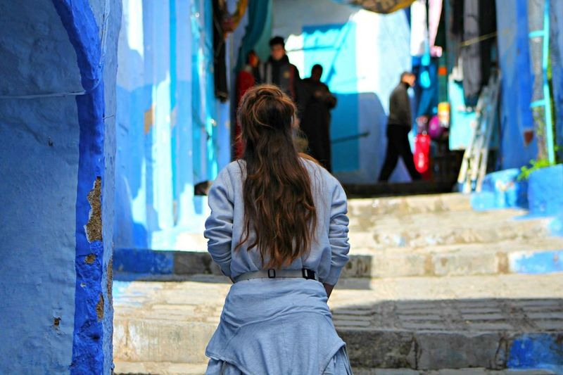 One Person Rear View Lifestyles Leisure Activity Real People Built Structure Person Day Outdoors Architecture Human Body Part Adult People Morocco Morocco Beauty Chaouen