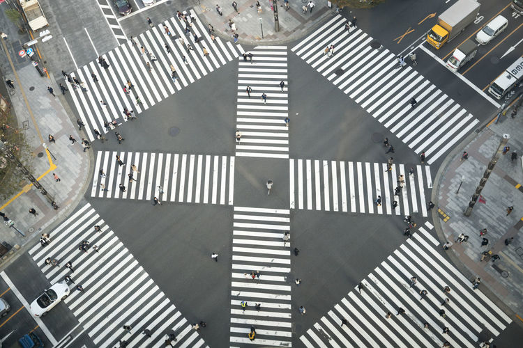 High angle view of road signal
