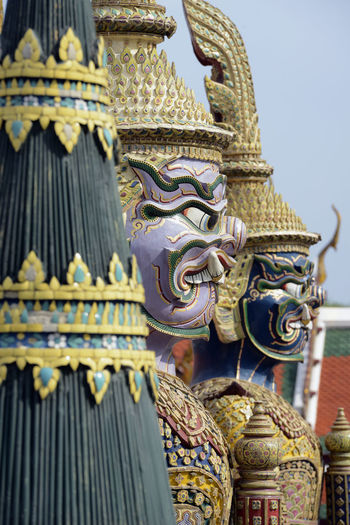 Low Angle Of Religious Figure In Asian Culture