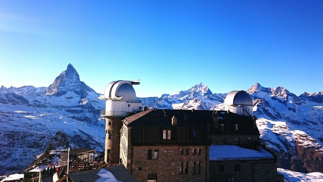 Zermat Mountain Outdoors No People Clear Sky Snow Blue Day Winter Cold Temperature Sky Nature