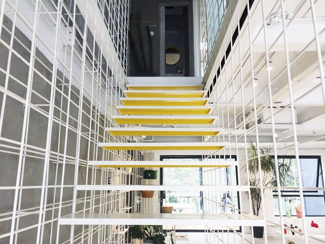 Simplicity Architecture Building Exterior Built Structure Indoors  Interior Design Store Steps Stairs Steps And Staircases Yellow Cute Clean The Way Forward Lookingup