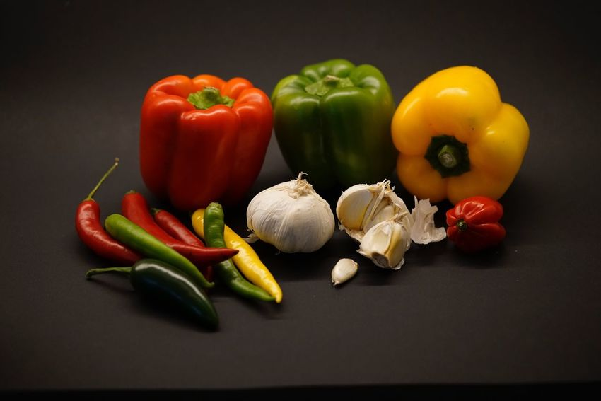 Bell Pepper Vegetable Still Life Yellow Bell Pepper Red Bell Pepper Food Food And Drink Green Bell Pepper Healthy Eating Freshness No People Pepper - Vegetable Spice Studio Shot Table Variation Indoors  Close-up Black Background Day