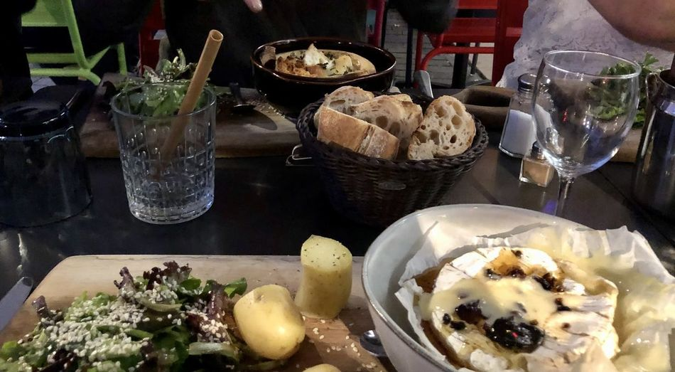 Close-up of food served on table in restaurant