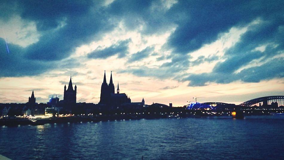 Cologne , Köln,  Rhein Sundown DeutzerBrücke Köln Kölner Dom Cologne
