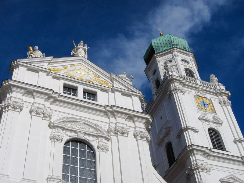 St Stephen's Cathedral against a blue sky in Passau Passau Architecture Building Exterior Built Structure Germany Green Dome Low Angle View Ornate Place Of Worship Religion Sky Spirituality Travel Destinations