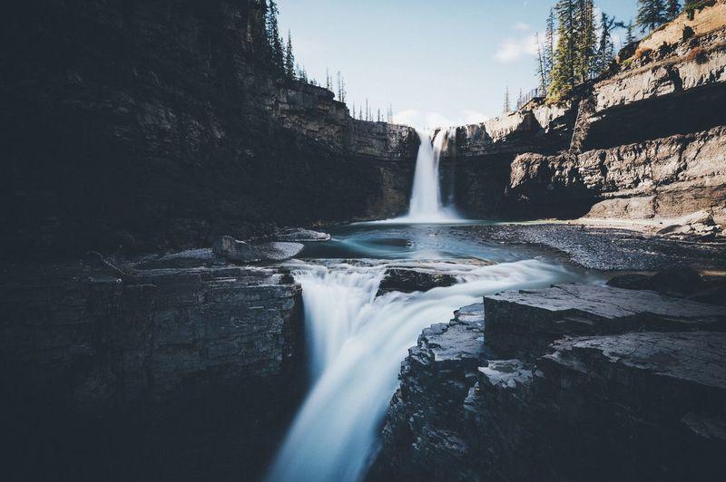 Idyllic view of waterfalls on mountain