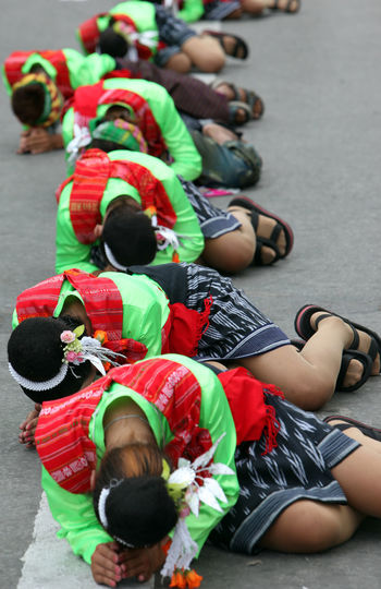 High Angle View Of Girls Performing Dance On Street