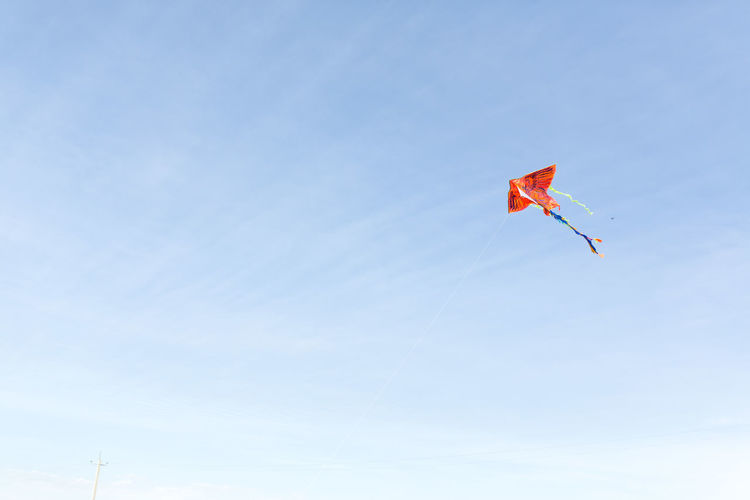 Low angle view of red kite flying in sky