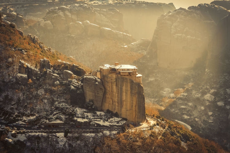 Meteora Beautiful Landscape Landscape_photography Light Light And Shadow Monastery Nature Nature Photography Orthodox Religion Rocks Rocky Mountains Snow Snow ❄ Sunlight Sunlight ☀ Winter Landscapes With WhiteWall