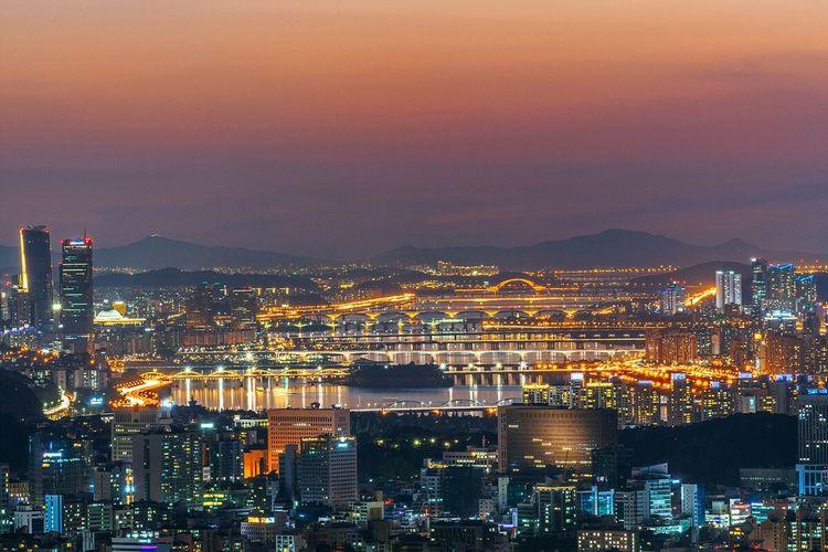 Seoul City Hanriver Bridge Night Cityscape Landscape Night View Nightscape with Sony A7R and Fe70-200 F4