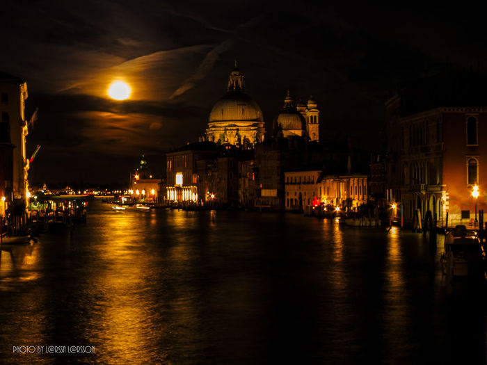 Fullmoon over Venice! Night City Architecture Travel Destinations Illuminated Government Cityscape Politics And Government Dome History Built Structure Building Exterior Water Sky Business Finance And Industry Bridge - Man Made Structure No People Sunset People And Places Fullmoon Nightlife Venice, Italy