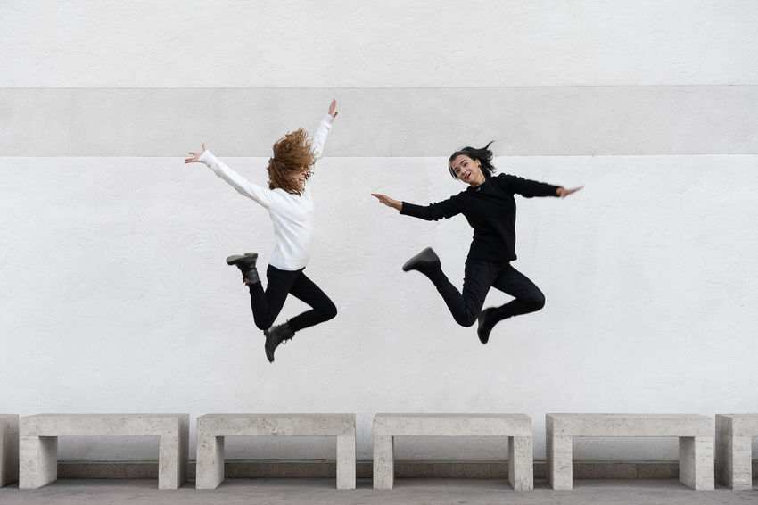 Jump Architecture Sisters Two People Twins Friendship Young Women Full Length Togetherness Jumping Mid-air Women Motion Skill  Vitality Flexibility Acrobatic Activity 50 Ways Of Seeing: Gratitude