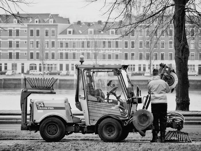 Working One Man Only Only Men Outdoors Transportation One Person People Adult City Architecture Full Length Men Blackandwhite Blackandwhite Photography Black And White Rotterdam
