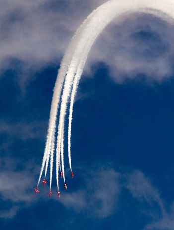 Acrobatic Flight Air Festival Blue Cloud - Sky Cloudy Colour Of Life Day Fighter Jet Flying Fun Low Angle View Military Airplane Multi Colored Nature No People Outdoors Plane Eyeemphoto Red Arrows Red Arrows Air Display Skills  Sky Smoke Smoke Trails Teamwork