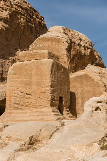 Petra Jordan Beauty In Nature Day History No People Outdoors Rock - Object Sky Tombs Travel Destinations