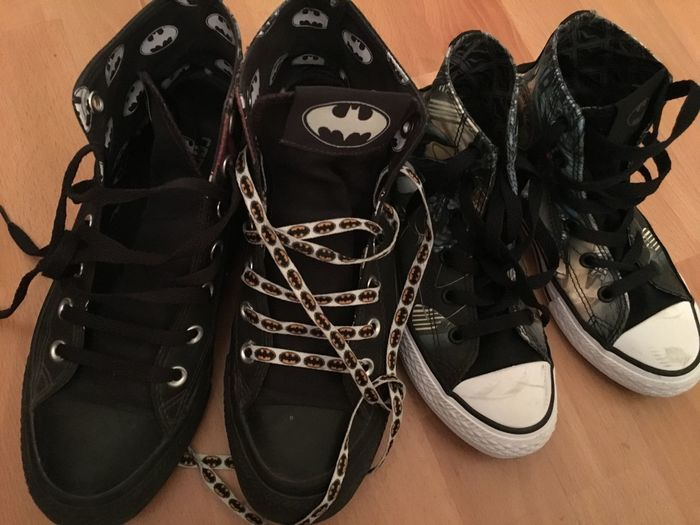 Bat Family Big And Small Shoes Black Color Chucks Flooring High Angle View Indoors  No People Personal Accessory Shoe Shoelace Wood - Material