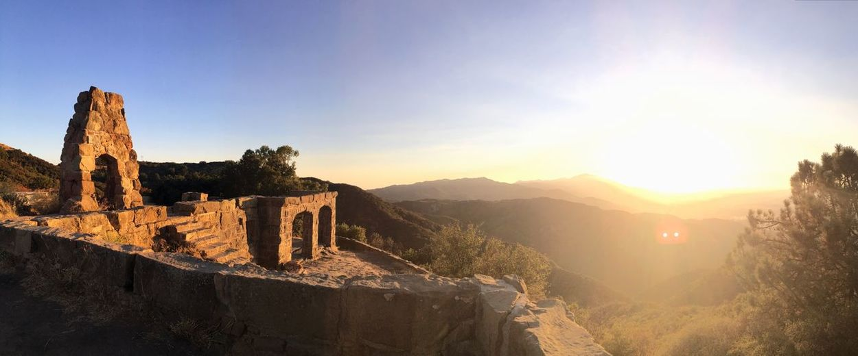 There's a castle in mountains of California California Mountains Panorama Knapp's Castle Santa Barbara Sunset Mountain Sunlight Nature Outdoors Tranquil Scene Scenics Sky