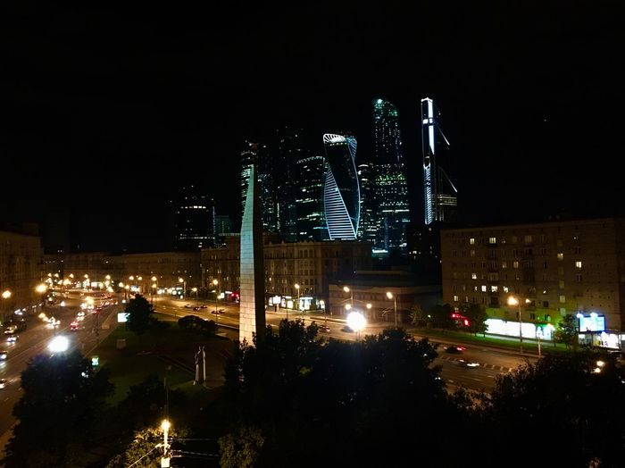 Moscow city Architecture Illuminated Built Structure Building Exterior Night City Skyscraper Street City Life Tower Tall - High Lighting Equipment Modern Sky Office Building Urban Skyline Building Story Downtown District Development Outdoors