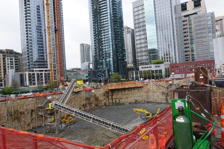 Construction Seattle Skyscrapers Amazon Architecture Building Exterior Built Structure City City Life Cityscape Construction Site Day Development Foundations Modern No People Outdoors Sky Skyscraper