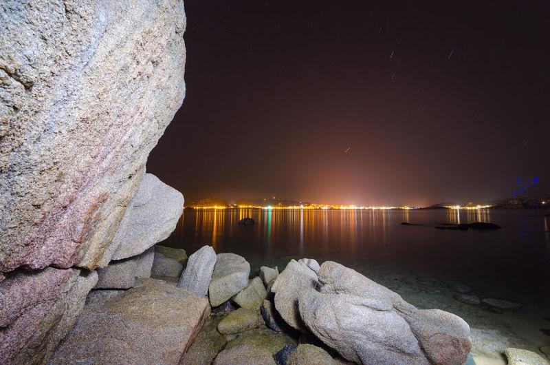 Nightphotography Sardegna La Maddalena Light Licht Stones & Water Travel Photography Water Reflection Rock - Object Rock Sea Beauty In Nature
