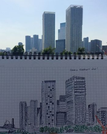 Architecture Skyscraper Building Exterior Built Structure City Urban Skyline Downtown District Cityscape Modern Sky Outdoors Day Travel Destinations No People Sketch Sketchbook Drowning City City Life Earlysummer Tokyo