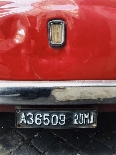 Roma VSCO Chrome Licenseplate Close-up Red Rome Fiat500 Fiat Communication Text Red Day Transportation Outdoors No People Close-up Moving Around Rome Summer Road Tripping