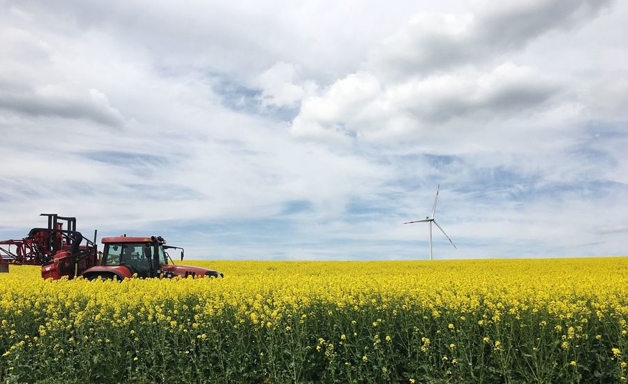 Rapeseed Field Field Rapeseed Yellow Fieldscape Agriculture Landscape Beauty In Nature Sky And Clouds Tractor Red Tractor Outdoors Germany Wind Turbine The Great Outdoors - 2017 EyeEm Awards