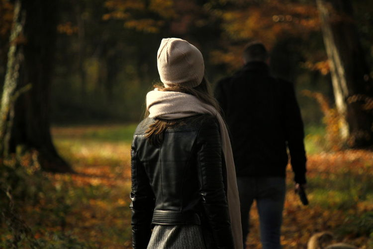 Adults Only Autumn Couple Day Love Nature Outdoors People Real People Rear View Togetherness Two People Walking