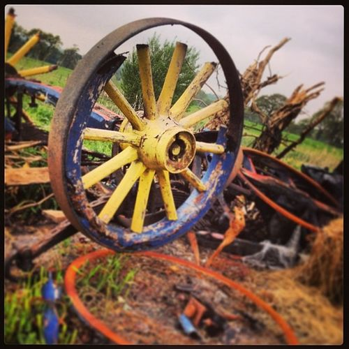 Broken Wagon Wood Paint Old Waste