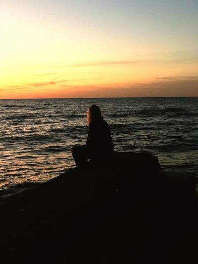 Sunset Silhouette Water One Person Sitting Tranquility